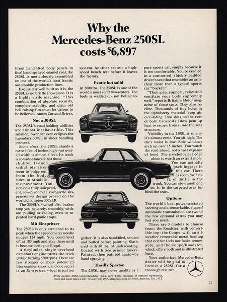 1968 MERCEDES-BENZ 250SL Car - Why the Mercedes-Benz 250SL Cost $6897 VINTAGE AD