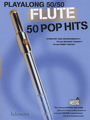 PlayAlong 50/50 Flute 50 Pop Hits Sheet Music Book + 6 Hours Audio Download Card