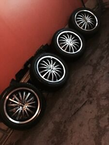 ^** DIP DEEP DISH BLACK AND SILVER RIMS LIKE NEW TIRES!