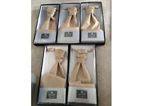 5 gold cravats with matching pocket squares