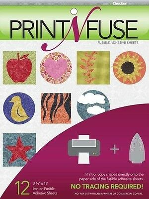 12 Print N Fuse Printable Fusible Paper Backed Iron On Adhesive Sheets Inkjet