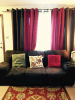 Moving sale: Couches set + cushions+ Curtains