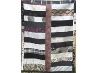 HOMEMADE PATCHWORK THROW - DECO DECADENCE £25 Black, Purple, Grey - Ideal for Bed, Sofa or Picnics
