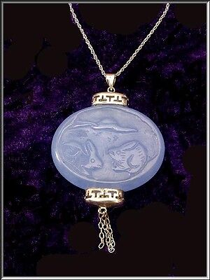Gorgeous Vtg Chinese Carved Blue Jade Sterling Silver Lantern Pendant Necklace