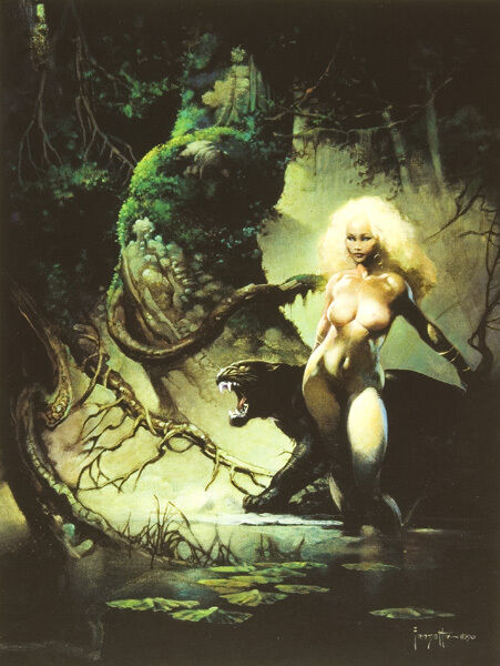 """Authentic Frank Frazetta Print PRINCESS AND THE PANTHER  17 x 23"""""""