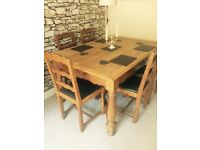 Rare wide antique solid oak dining table and chairs