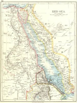 RED SEA. Egypt Eritrea Hedjaz Asir Yemen. Nile valley. Sinai. JOHNSTON 1899 map