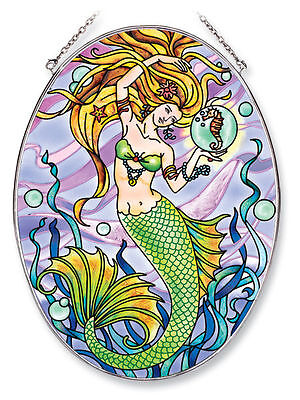 """Mermaid Sun Catcher Seahorse AMIA Large Oval Hand Painted 6.5"""" x 9"""" New Water"""