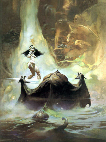 """Authentic Frank Frazetta Print """" AT THE EARTHS CORE"""" #35 18 x 24"""""""