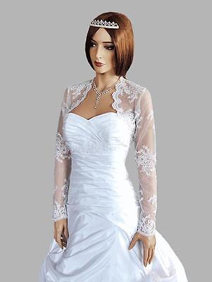 Wedding Ivory/white Lace Bolero Bridal Shrug Jacket Long Sleeve Xs M L Xl