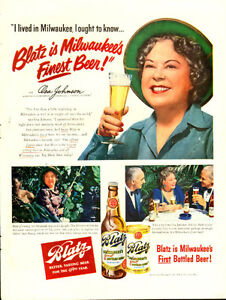 Large (10 ½  by 14) 1950 full-page color ad for Blatz Beer