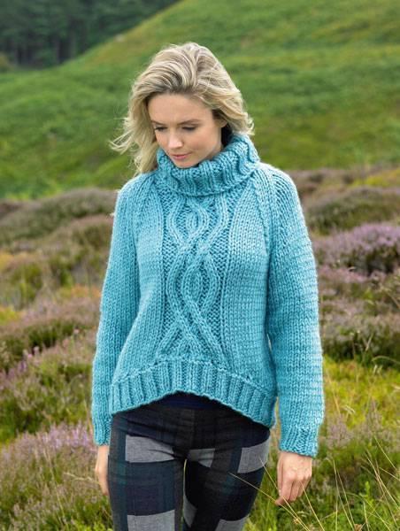 James C Brett Ladies Polo Neck Jumper Super Chunky Yarn Knitting Pattern JB216