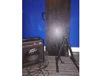 Bass guitar, amp and hard case