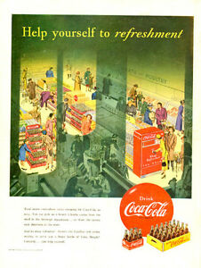 Large (10 ½  by 14) 1950 full-page color ad for Coca-Cola