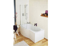 B-Shaped-Shower-Bath-Screen-R1099-1400mm-Height-850-870mm-6mm-Glass