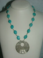 GENUINE TURQUOISE & STERLING SILVER SOUL PENDANT NECKLACE