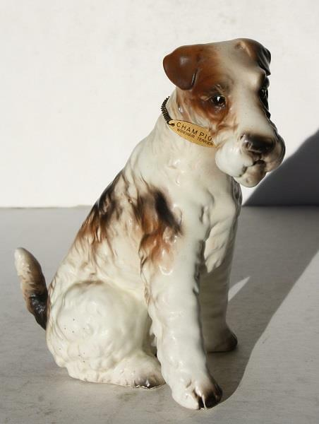 Wirehair Fox Terrier Dog Figurine w-Metal ID Tag Ceramic-Porcelain Hand Painted