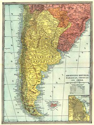 ARGENTINE REPUBLIC. Argentina Paraguay Chile Uruguay. Buenos Aires 1907 map
