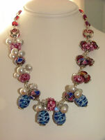 Sterling Silver wrapped Lamp work bead necklace