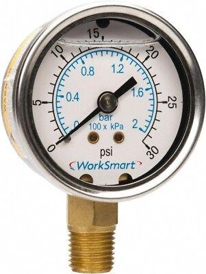 Worksmart 2 Dial 14 Npt Thread 0-30 Scale Range Pressure Gauge Lower Con...