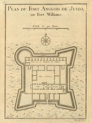 'Fort Anglois de Juida ou Fort Williams'. Ouidah, Benin. Whydah. BELLIN 1747 map