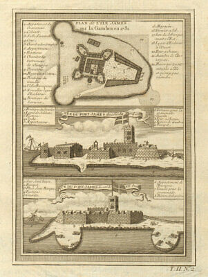 Fort James plan/view, Kunta Kinteh Island, Gambia River. Gambra. BELLIN 1746 map