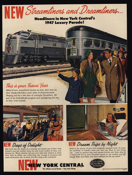 1947 NEW YORK CENTRAL - Trains - Railroad - Subway - Traveling Family VINTAGE AD