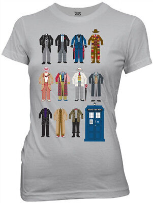 Doctor Outfits (Doctor Who All Eleven Doctor Outfits Silver Baby Doll/Juniors T-Shirt NEW)