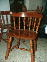 4 solid maple dining chairs