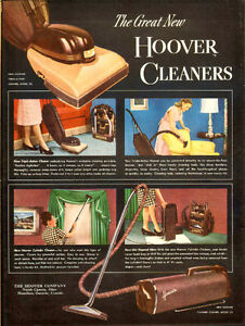 1947 large, full-page color magazine ad for Hoover Vacuums