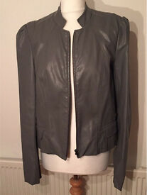 Womens grey leather jacket brand new with tags size 12