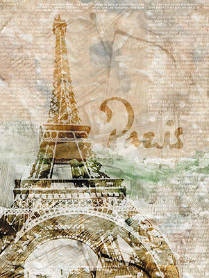 Paris France Tower - NEW Paris France Eiffel Tower with Script Background; One 11x14in Poster Print