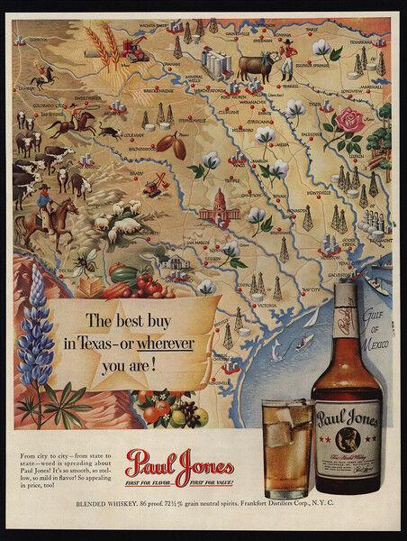 1950 TEXAS Map Art - PAUL JONES Whiskey - VINTAGE AD
