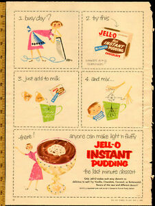 1955 large (10 ½ x 14 ½ ) color magazine ad for Jell-O Pudding