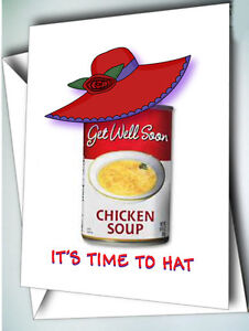6 GET WELL CHICKEN SOUP GREETING CARDS & ENVELOPES FOR RED HAT LADIES OF SOCIETY