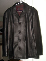 MEN'S DESIGNER BLACK LEATHER COAT (LRG)