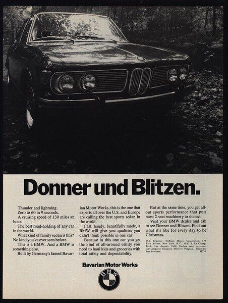 1970 BMW Sports Car - Donner Und Blitzen VINTAGE ADVERTISEMEMENT