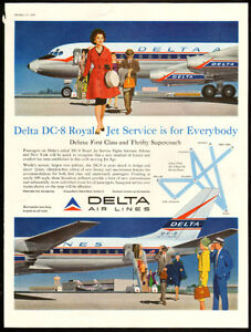 1959 full-page color magazine ad for Delta Air Lines DC-8