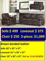 GREAT DEALS ON FAUX-LEATHER UPHOLSTERED SOFA UNITS