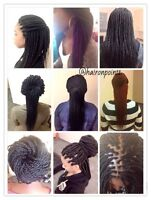 Hair braiding, twisting, Sew ins with lace closure..