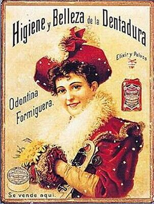 Vintage Distressed Tin Sign ~ Heavy Tin Rustic ODONTINA FORMIGUERA ELIXIR POLVOS