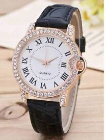New Ladies Roman Numerals Rhinestone Quartz Watch Black