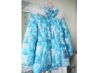 Disney Frozen H&M Girls Coat with furry hood, Age 6-7 As new!