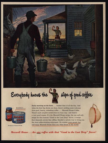 1950 MAXWELL HOUSE COFFEE - Farmer - Wife - Chickens - BINGHAM Art - VINTAGE AD