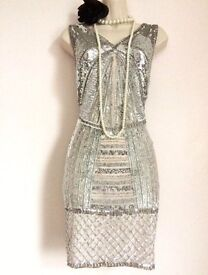 Gatsby 1920s size 14 silver sequin dress