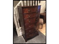 LOVELY REPRODUCTION MAHOGANY VENEER GEORGIAN STYLE CHEST OF SIX DRAWERS