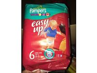 Brand new pamper easy up nappies size 6 (10packs)