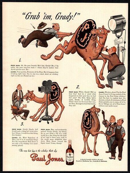 1943 PAUL JONES Whiskey - Cartoon Camel On Movie Set - Oscar - Camera VINTAGE AD