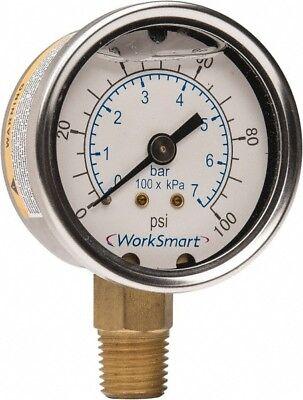 Worksmart 2 Dial 14 Npt Thread 0-100 Scale Range Pressure Gauge Lower Co...