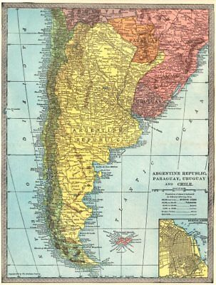 ARGENTINE REPUBLIC Argentina Paraguay Uruguay Chile. Buenos Aires 1907 old map